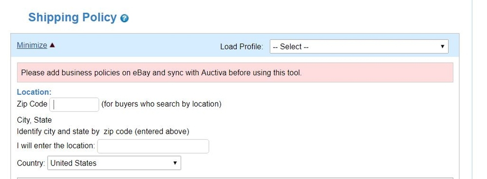Please add business policies on eBay and sync with Auctiva
